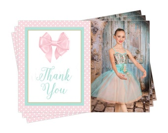 Chic Bow Thank You Photo Card | Printable | 2 Designs | Chic Stripes or Polka Dots | Pink Mint Gold