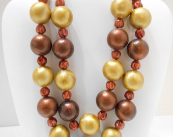 Vintage Swirly Beaded Double Strand Necklace (2248) Japan