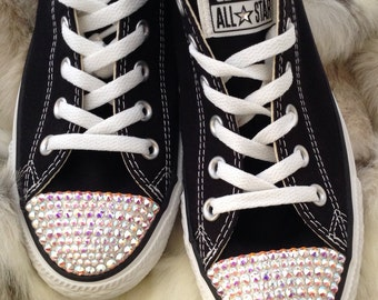 Black Converse Bling Childrens High Top Girls Sz 10.5-4 Glass Slippers w/ Swarovski Crystal Rhinestones Chuck Taylor All Star Sneakers Shoes