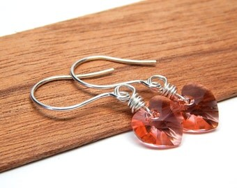 Peach Heart earrings, wire wrapped, Swarovski drop crystal, valentines day jewelry, sterling silver