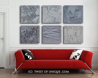 Extra large Concrete Abstract Painting / CUSTOM 6 set of paintings (20 Inch x 20 Inch) /  AcryliCrete / Concrete gray, gray/ Twist of Unique