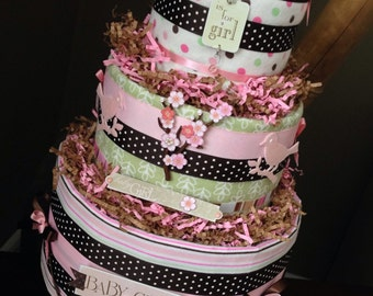 Diaper Cake Baby Girl, Baby Shower Centerpiece or New Baby Gift, Let's Feather Their Nest Baby Shower, Woodland Baby Shower, Diaper Cake