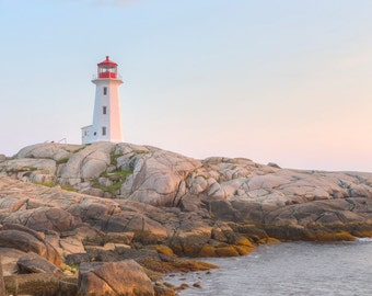 Peggy's Cove Light Photograph - Nova Scotia Lighthouse - Landscape Print - Canada Maritimes Photo - Sunset Photo - Peggy's Cove, NS