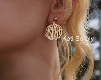 Personalized Monogram Earrings - Name Initials - Small to Large Sizes (order any name)- Yellow Gold, Sterling Silver or Rose Gold