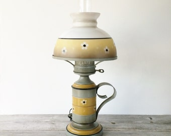 Vintage Toleware Lamp, Colonial Early American Style Lamp, Bicentennial Americana Table Lamp, Metal Base Glass Shade Lamp, Grey Gold