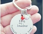Teacher of the Year Keychain - Hand Stamped Teacher Gift - End of School Year - Preschool Teacher Gift - Apple Keychain