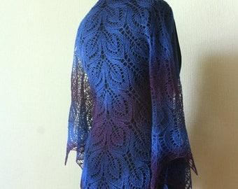 Hand knit wool shawl -   blue lace shawl