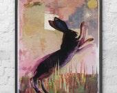 Hare Print -  Signed Illustration Print on Wood / collage art Meadow Original Artwork Monoprint photomonage Nature Wall Art Wildlife