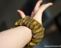 Mustard felt bracelet ,Modern Bracelet ,bangle,unusual accessory