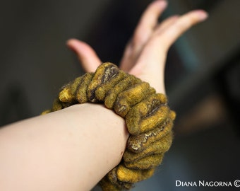 Mustard felt bracelet ,Modern Bracelet ,bangle,unusual accessory