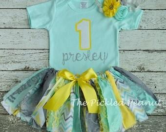 Mint Aqua Gray Yellow Birthday Outfit Birthday Tutu 1st Birthday Girls Birthday Outfit Baby Tutu Shabby Chic Birthday Fabric Tutu Baby Skirt