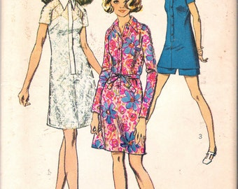 """Vintage 1970 Simplicity 8687 Shirt-Dress or Tunic & Shorts Sewing Pattern Size 14 Bust 36"""" Waist 27"""""""