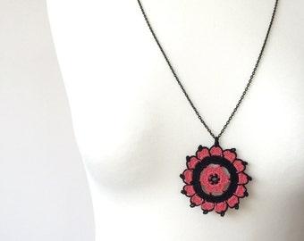 Crochet Pendant, Boho Beaded Necklace, Crochet Necklace, Coral Red Black Jewelry, Christmas Gift, Beaded Jewelry, Beadwork, ReddApple