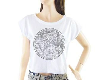 Earth Globe Map Eastern Hemisphere shirt women shirt cropped tee crop tops