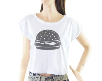 Hamburger shirt women shirt cropped tee crop tops