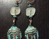 Copper buddha earrings with Greek sea glass