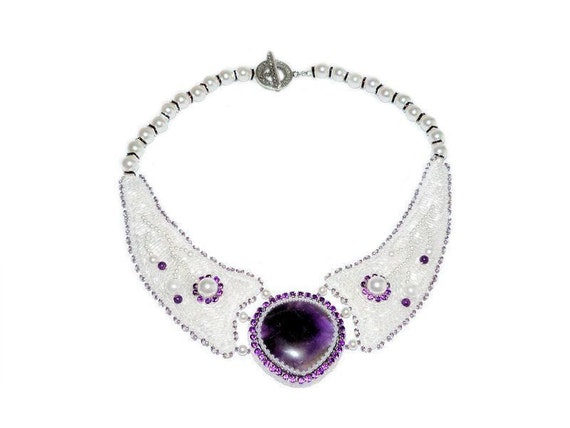 Bead Embroidered Amethyst Bib Necklace with Rhinestones Pearls. Bead Embroidery Statement Bridal Necklace Collar