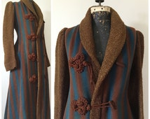 COAT SALE - Antique Turquoise & Brown Striped Victorian Wool Blanket Coat with Olive Boucle, Bustle, Frogs and Tassels