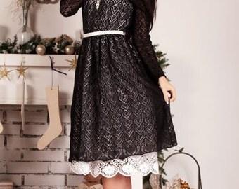"Elegant laced openwork dress ""Lacy Night"" elite Italian mohair"