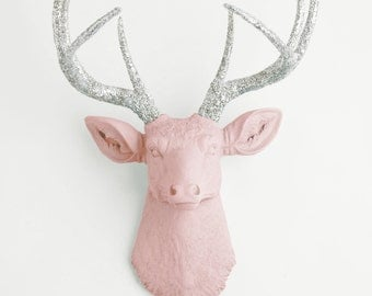 Faux Deer Head Wall Mount, The Briley in Blush Pink W/ Silver Glitter Antlers - Resin Stag Head Hanging Wall Decor by White Faux Taxidermy