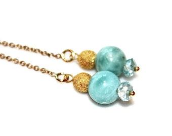 Caribbean Larimar Earring Larimar Jewelry Ear Thread Blue Zircon Earring Thread Through Earring Beach Earrings Beach Jewelry Fall Jewelry
