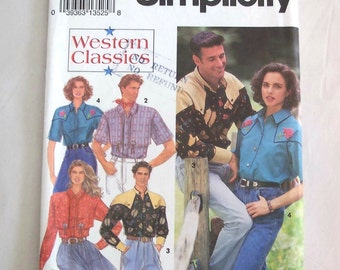 Simplicity Pattern 8190 Western Shirt Size XS - MD Misses' Men's Teen Boys'