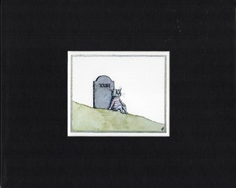 Cat Wearing a Striped Sweater Leans Against a Tombstone 'Cat E Gore Y' Book Plate Print by Edward Gorey