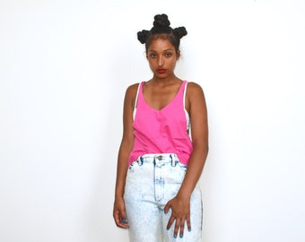 Vintage 80's Slouchy Neon Pink Tank Top
