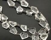 Rock Crystal Fancy Bezel Chain,Rock Crystal Fancy Shape Connector linked w/ Antiques Finish,19x17 mm,(GMC-BZ-313)