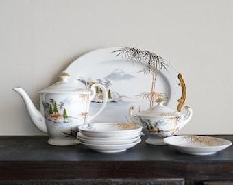 Vintage Japanese Kutani Porcelain Tea Set with Mt Fuji Teapot Platter Sugar Bowl and Six Saucers