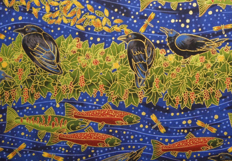Robert Kaufman Fabric Alaska Salmon Fish Sun Raven Bird Berry