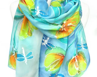 Hand Paint Silk Scarf. Birthday Gift. Green Blue Floral Shawl. Birthday gift for Her. Silk Painting. Unique handmade. 18x71in. Ready2Ship