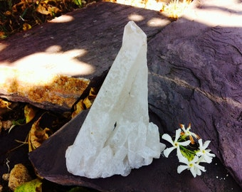 Tibetan White or Snow Quartz, Opaque Cluster and Points, 370 grams, Natural and Untreated, Spiritual Energy, Frozen Light