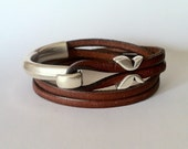brown wrap leather bracelet. wrap bracelet  leather bracelet for women, boho bracelet. Hook clasp, silver plated, gift for him,women leather