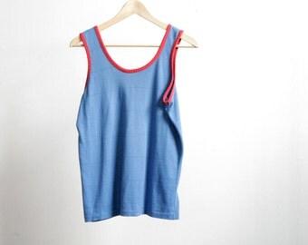 90s striped OXFORD ringer BLUE & red black stripe tank top