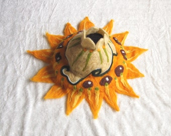 Felt art sculpture with lots of colors, wool sculpture, handmade fantasy art work OOAK, sunflower theme van Gogh, yellow, green and brown