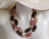 Long Beaded Chunky Necklace, Pink Lepidolite, Labradorite Marquise Beads, .925 Sterling Silver