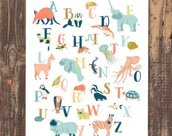 Animal Alphabet Art Print (Orange) - INSTANT DOWNLOAD
