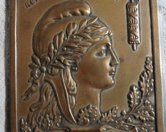 French Antique, French Vintage ,  Bronze Plaque , Beautiful Woman, Marianne , Republique Francaise.French Country Living