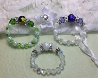 Free Shipping - Love - Swarovski Crystal Stretch Rings/Mala Pearl Stretch Rings/Zen/Pearl/Finger Crystal Stretch Rings/Metahphysical Rings