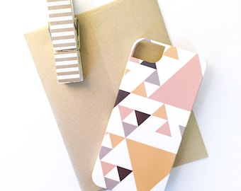 SALE - Triangles iPhone 5 / 5S Case - Barely-There Snap-On Hard Plastic, Ready to Ship - Grapefruit, Marigold, Grey, & Graphite