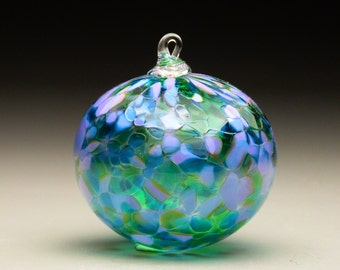 hand made blown glass Christmas ornament in tones of lavender, purple, and green, Lavender