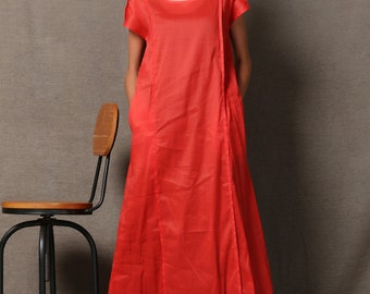 Red Plus Size Dress - Casual Loose-Fitting Handmade Linen Dress with Black Vest Inner Layer Short-Sleeved with Pockets Women's Dresses C594
