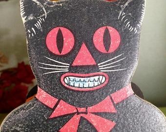 Antique Halloween Black Cat Accordion Noisemaker 1920s German Vintage Halloween Toy Halloween Decor Display Collectible