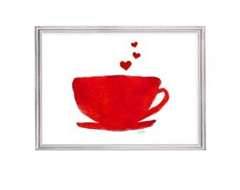 Coffee Print, 5x7 Kitchen Print, Kitchen Art, Diner Coffee Cup, Retro Kitchen Art, Kitchen Watercolor, Retro Kitchen Decor, Coffee Print