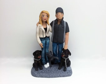 Custom Couples Sculptures with Pets from your Photos and Ideas