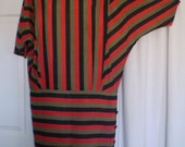 VALLEY GIRL 1980s Striped Winged New Wave Dress