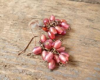 Pink cluster bead earrings, pink earrings, beaded earrings, cluster earrings, pink bead earrings, boho earrings, gift for her, pink jewelry