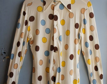 SPALDING 1970's Men's Mod Polka Dot Shirt in Baby Blue, Beige, Brown and Yellow Spots