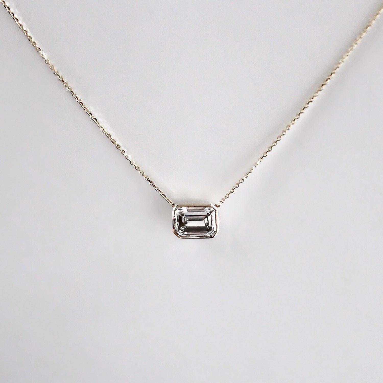 14k Gold 80 carat Emerald Cut Diamond Necklace